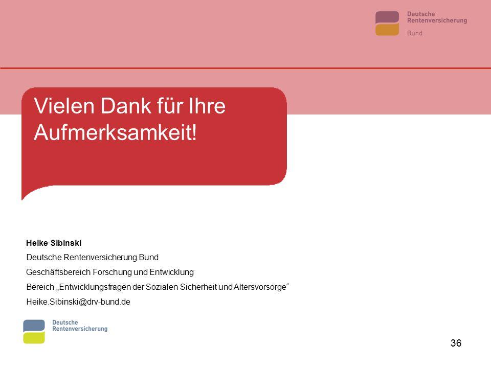"""36 Vielen Dank für Ihre Aufmerksamkeit! Heike Sibinski Deutsche Rentenversicherung Bund Geschäftsbereich Forschung und Entwicklung Bereich """"Entwicklun"""