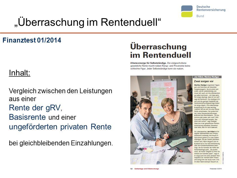 """4 """"Überraschung im Rentenduell"""" Finanztest 01/2014 Inhalt: Vergleich zwischen den Leistungen aus einer Rente der gRV, Basisrente und einer ungefördert"""