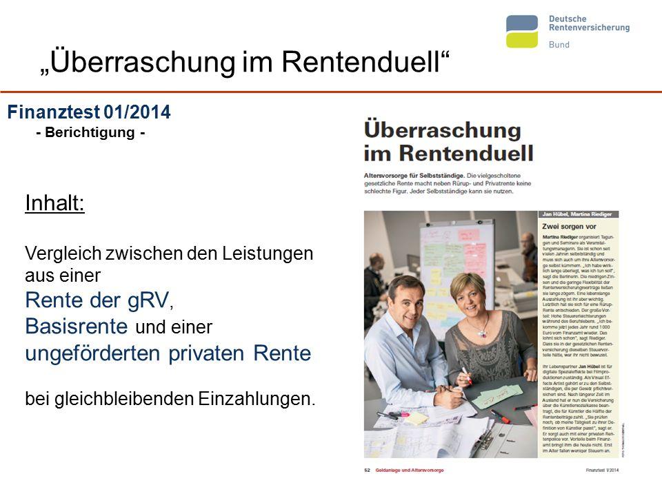 """8 """"Überraschung im Rentenduell"""" Finanztest 01/2014 - Berichtigung - Inhalt: Vergleich zwischen den Leistungen aus einer Rente der gRV, Basisrente und"""