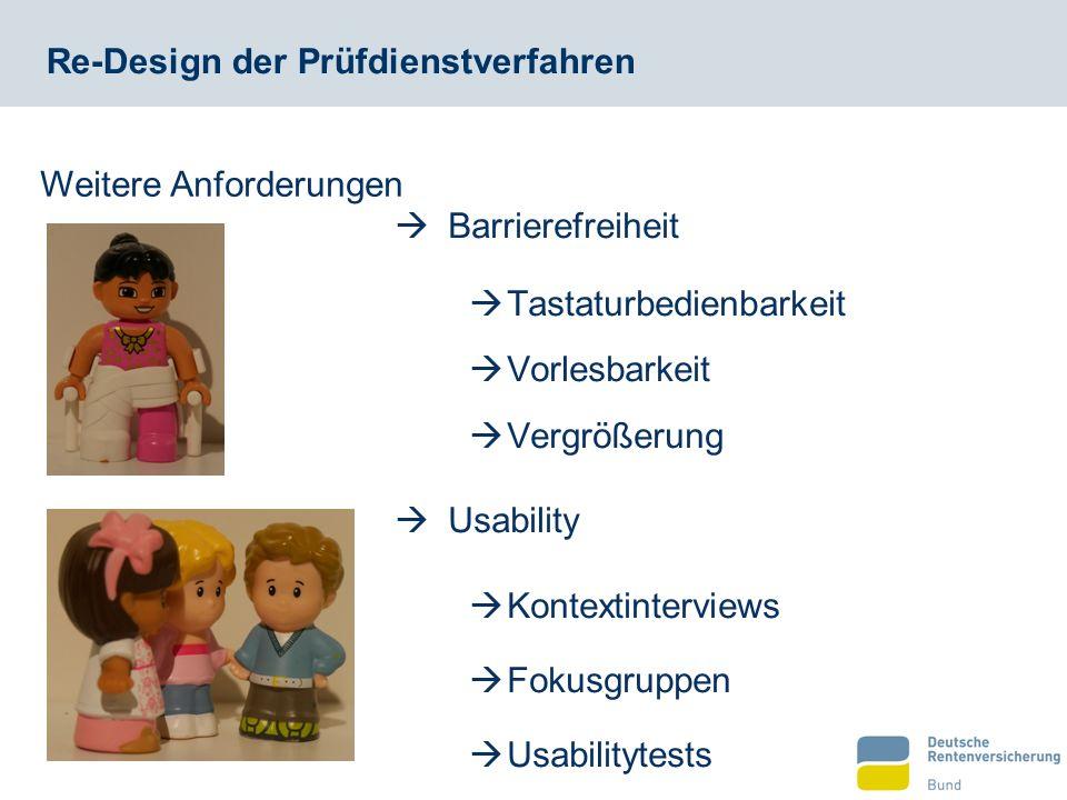 Re-Design der Prüfdienstverfahren  Barrierefreiheit  Tastaturbedienbarkeit  Vorlesbarkeit  Vergrößerung Weitere Anforderungen  Usability  Kontextinterviews  Fokusgruppen  Usabilitytests