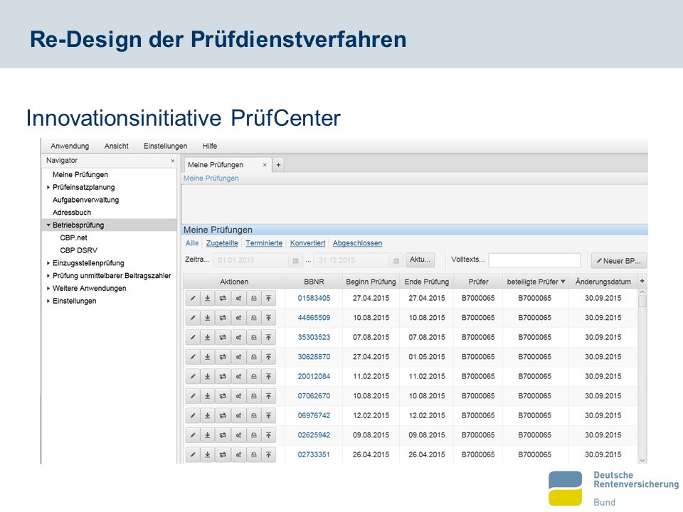 Re-Design der Prüfdienstverfahren Innovationsinitiative PrüfCenter