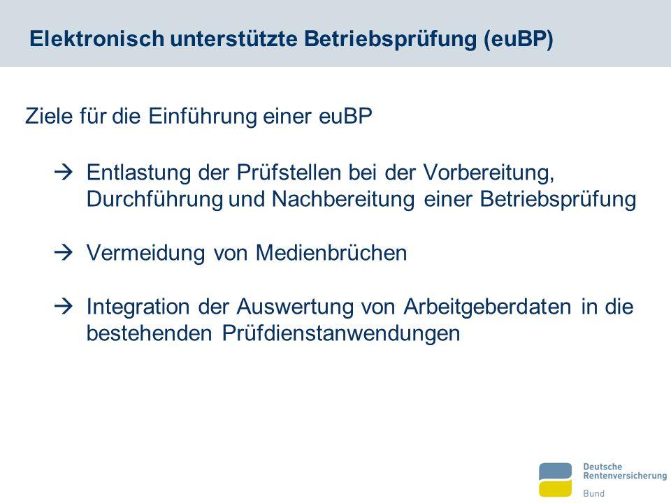  Entlastung der Prüfstellen bei der Vorbereitung, Durchführung und Nachbereitung einer Betriebsprüfung  Vermeidung von Medienbrüchen  Integration der Auswertung von Arbeitgeberdaten in die bestehenden Prüfdienstanwendungen Ziele für die Einführung einer euBP