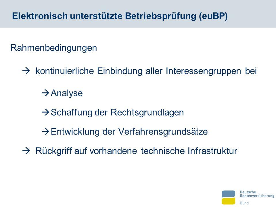 Elektronisch unterstützte Betriebsprüfung (euBP)  kontinuierliche Einbindung aller Interessengruppen bei  Analyse  Schaffung der Rechtsgrundlagen 