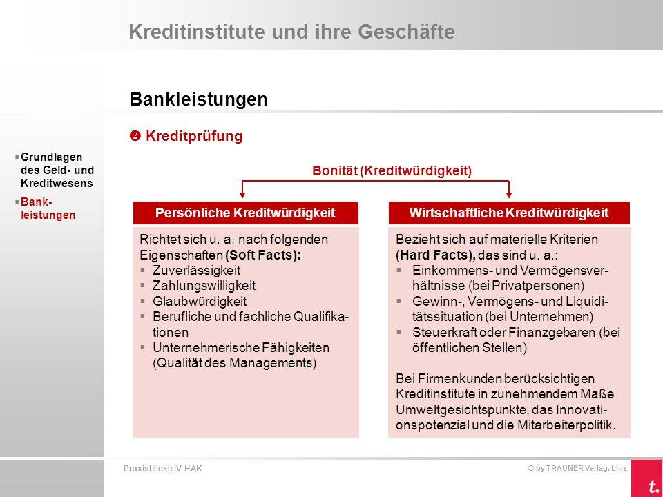 Praxisblicke IV HAK © by TRAUNER Verlag, Linz Kreditinstitute und ihre Geschäfte Bankleistungen  Grundlagen des Geld- und Kreditwesens  Bank- leistungen Positiv auf die Kreditvergabe und Bonitätsbewertung wirken sich die Kredit- sicherheiten aus.