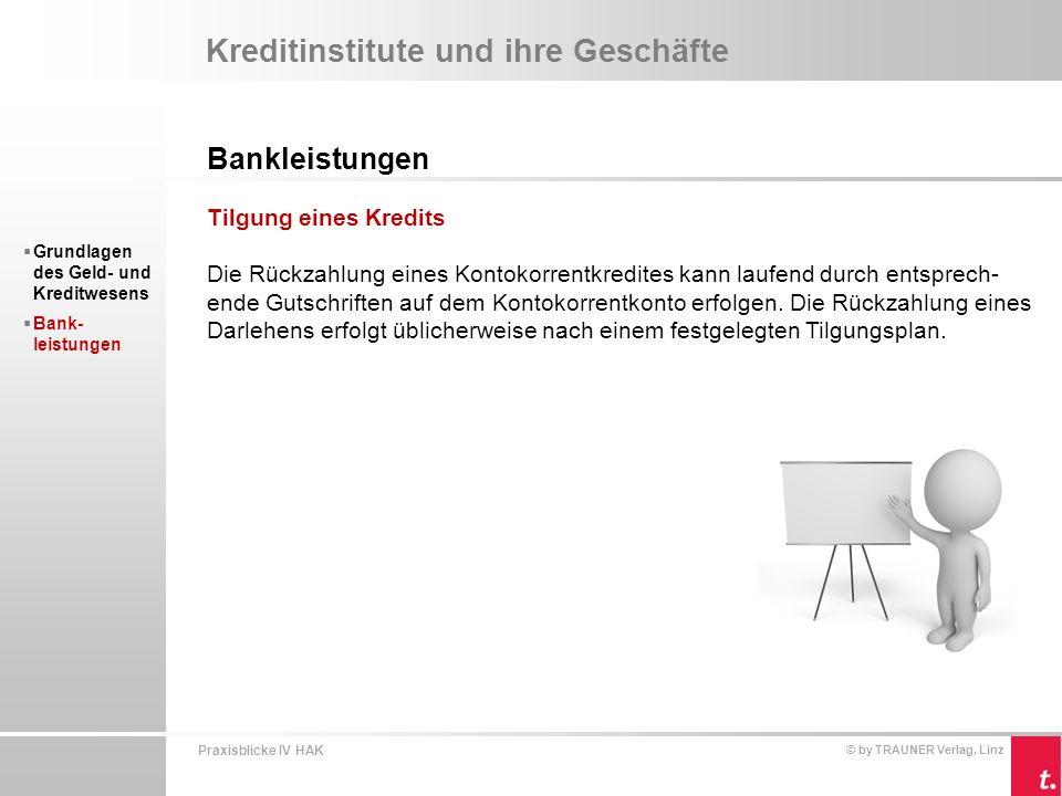 Praxisblicke IV HAK © by TRAUNER Verlag, Linz Kreditinstitute und ihre Geschäfte Bankleistungen  Grundlagen des Geld- und Kreditwesens  Bank- leistungen Einlagengeschäfte Einlagen der Bankkunden sind die wichtigste Finanzierungsquelle für Kredit- institute.