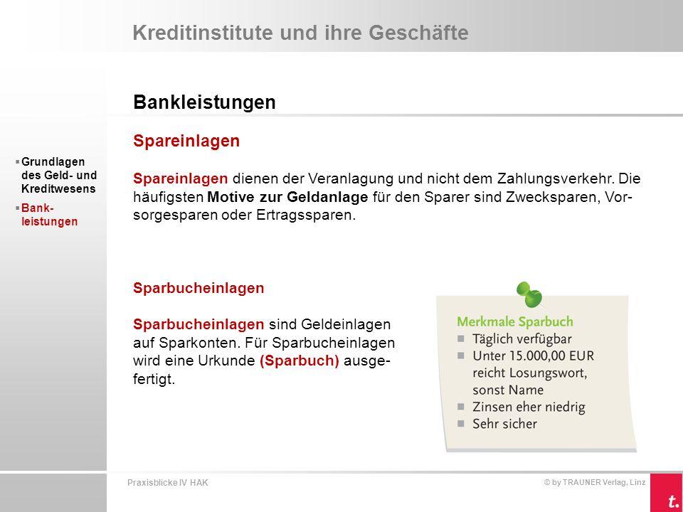 Praxisblicke IV HAK © by TRAUNER Verlag, Linz Kreditinstitute und ihre Geschäfte Bankleistungen  Grundlagen des Geld- und Kreditwesens  Bank- leistungen Sparbriefe Sparbriefe sind von Kreditinstituten ausgegebene Urkunden über eine geleistete Spareinlage.