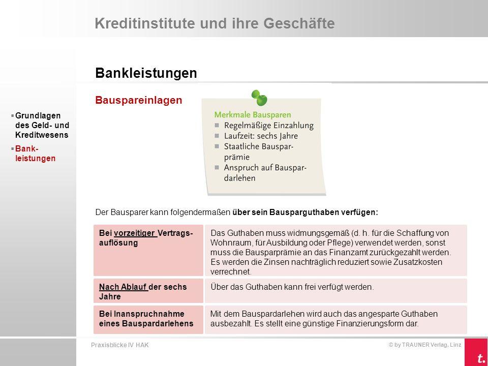 Praxisblicke IV HAK © by TRAUNER Verlag, Linz Kreditinstitute und ihre Geschäfte Bankleistungen  Grundlagen des Geld- und Kreditwesens  Bank- leistungen Versicherungssparen Versicherungssparen ist eine Kombination von Risikoabsicherung und Vermögens- bildung in Form einer Lebensversicherung.