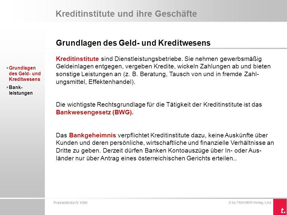 Praxisblicke IV HAK © by TRAUNER Verlag, Linz Kreditinstitute und ihre Geschäfte Grundlagen des Geld- und Kreditwesens Kreditinstitute werden von der österreichischen Finanzmarktaufsicht (FMA) überwacht.