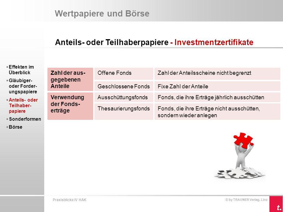Praxisblicke IV HAK © by TRAUNER Verlag, Linz Kapitalaufbringung  Investmentzertifikate werden durch die Depotbank ausgegeben.