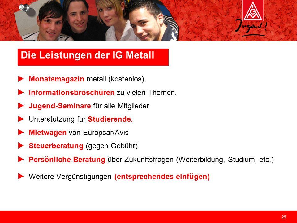 29  Monatsmagazin metall (kostenlos).  Informationsbroschüren zu vielen Themen.