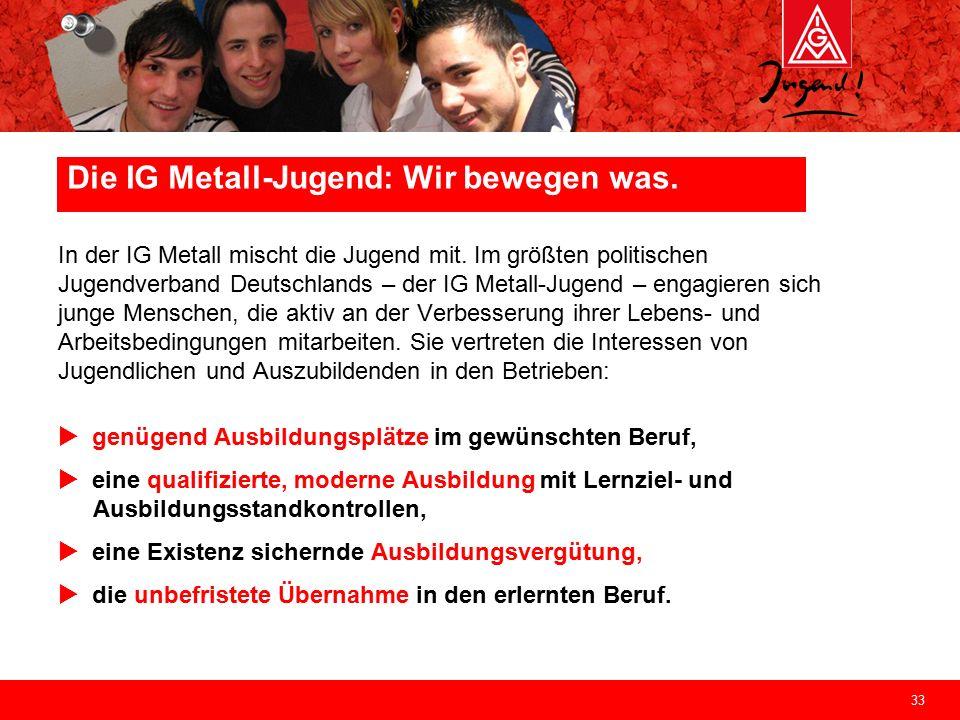33 Die IG Metall-Jugend: Wir bewegen was. In der IG Metall mischt die Jugend mit. Im größten politischen Jugendverband Deutschlands – der IG Metall-Ju