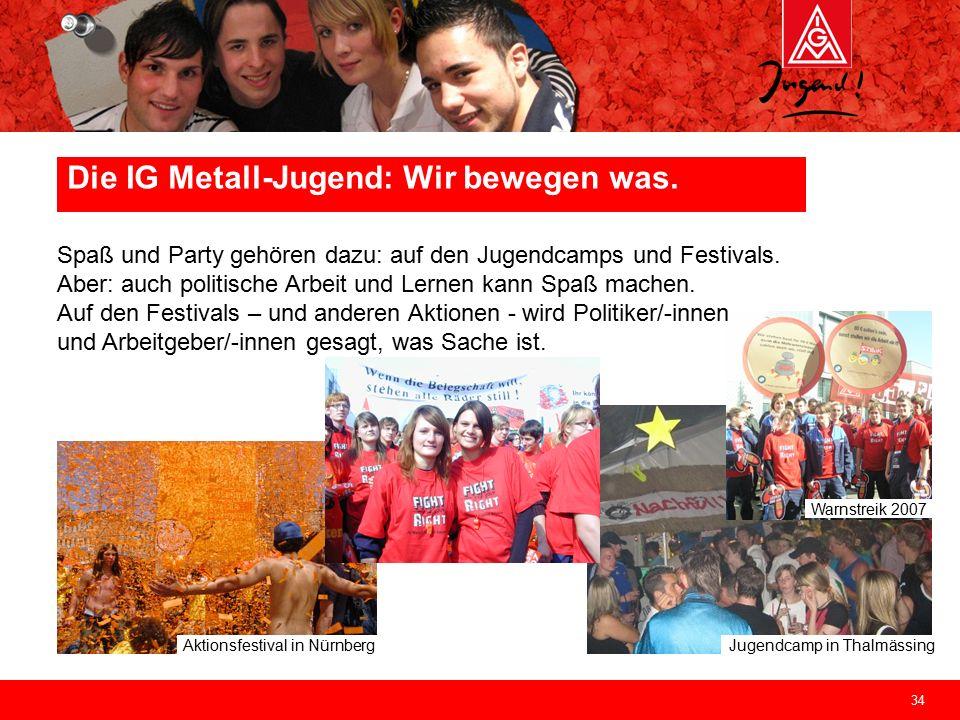 34 Jugendcamp in Thalmässing Aktionsfestival in Nürnberg Warnstreik 2007 Spaß und Party gehören dazu: auf den Jugendcamps und Festivals. Aber: auch po