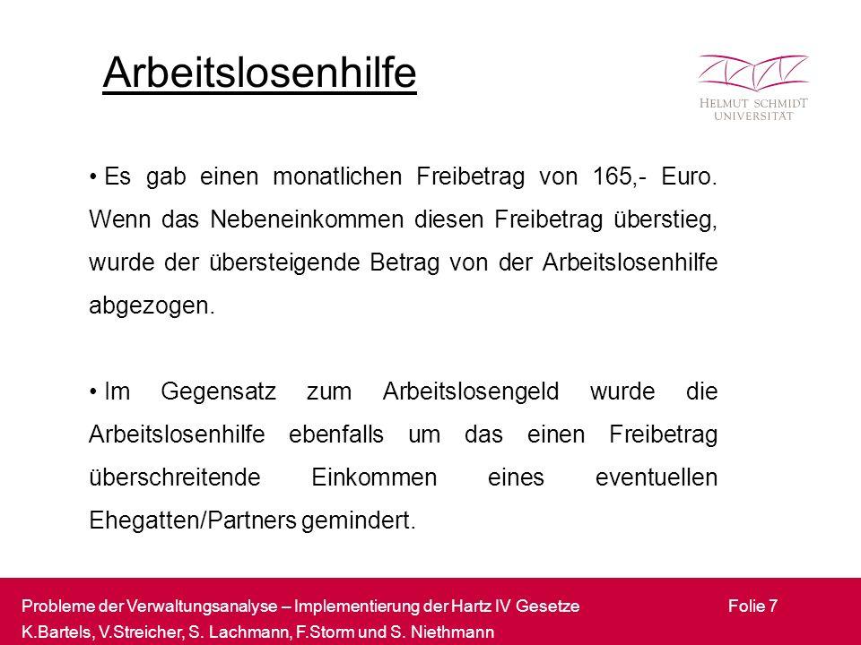 Probleme der Verwaltungsanalyse – Implementierung der Hartz IV Gesetze K.Bartels, V.Streicher, S.