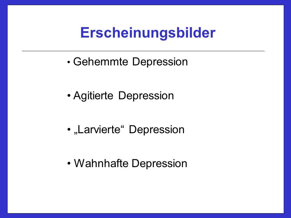 """Erscheinungsbilder Gehemmte Depression Agitierte Depression """"Larvierte Depression Wahnhafte Depression"""