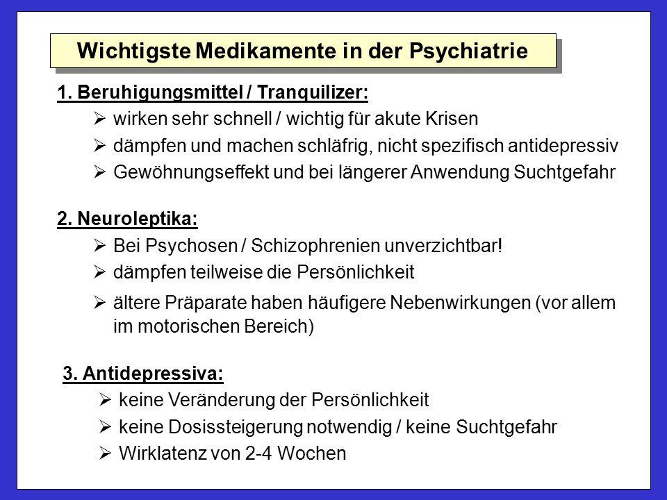 1. Beruhigungsmittel / Tranquilizer:   wirken sehr schnell / wichtig für akute Krisen   dämpfen und machen schläfrig, nicht spezifisch antidepress