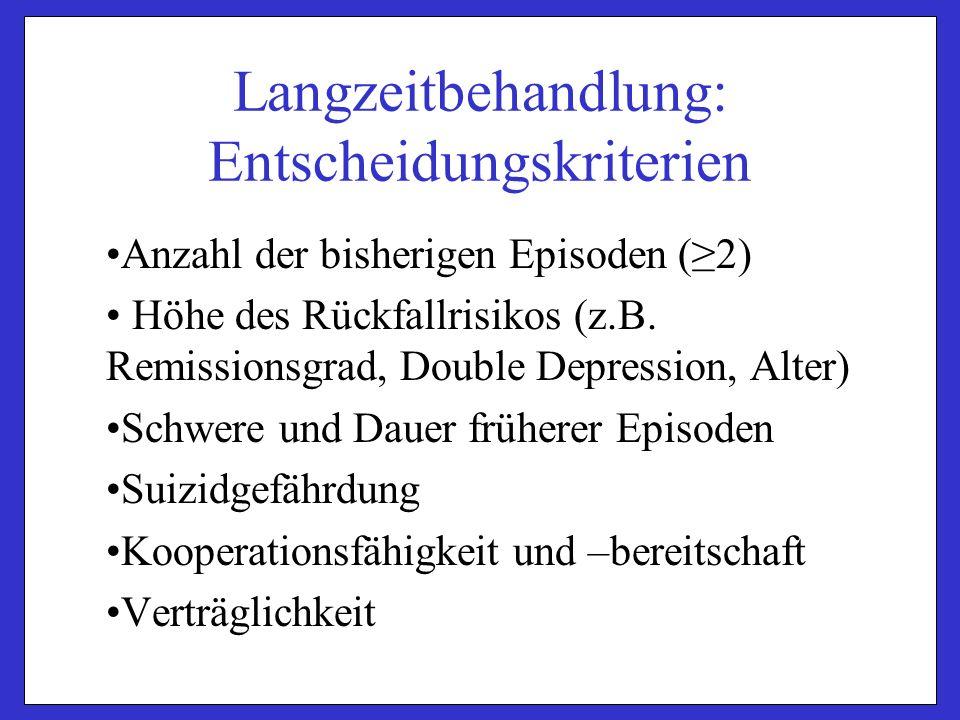 Langzeitbehandlung: Entscheidungskriterien Anzahl der bisherigen Episoden (≥2) Höhe des Rückfallrisikos (z.B.