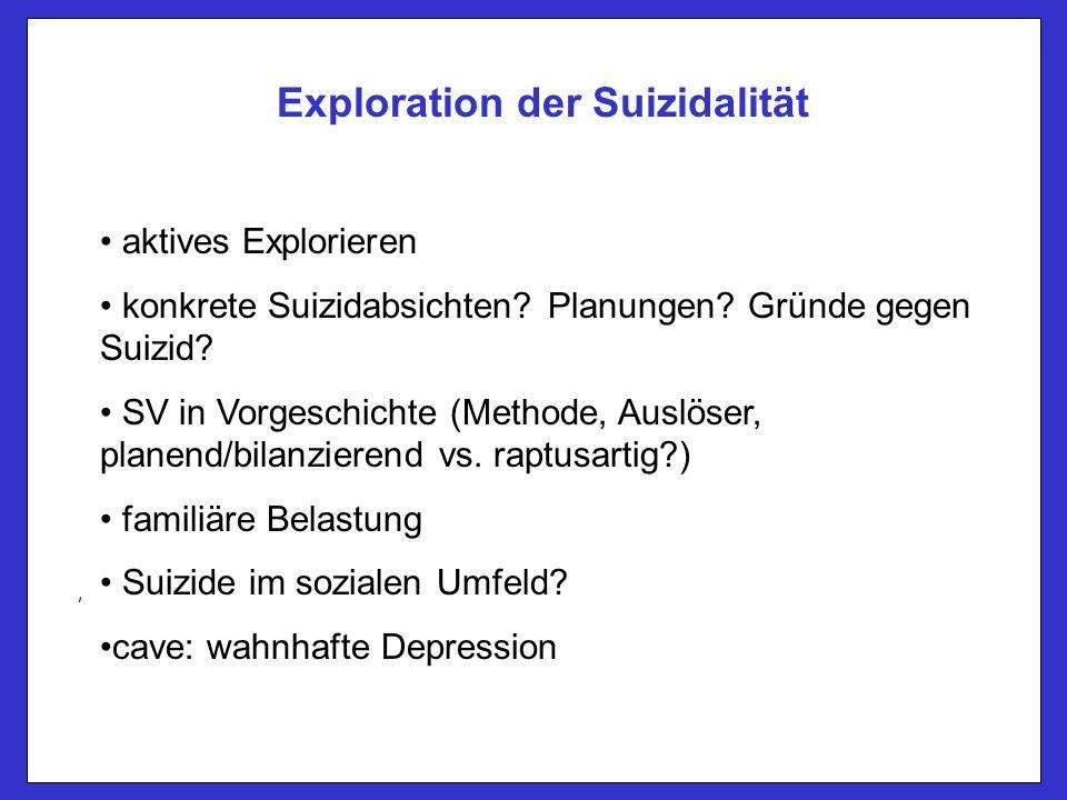 Exploration der Suizidalität aktives Explorieren konkrete Suizidabsichten.