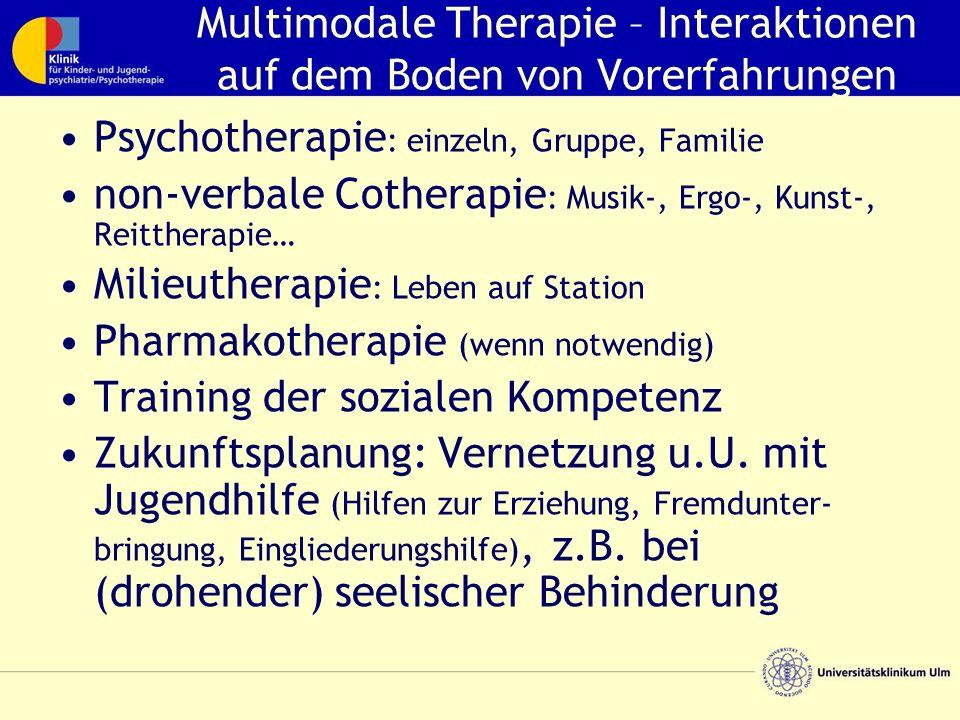 Multimodale Therapie – Interaktionen auf dem Boden von Vorerfahrungen Psychotherapie : einzeln, Gruppe, Familie non-verbale Cotherapie : Musik-, Ergo-