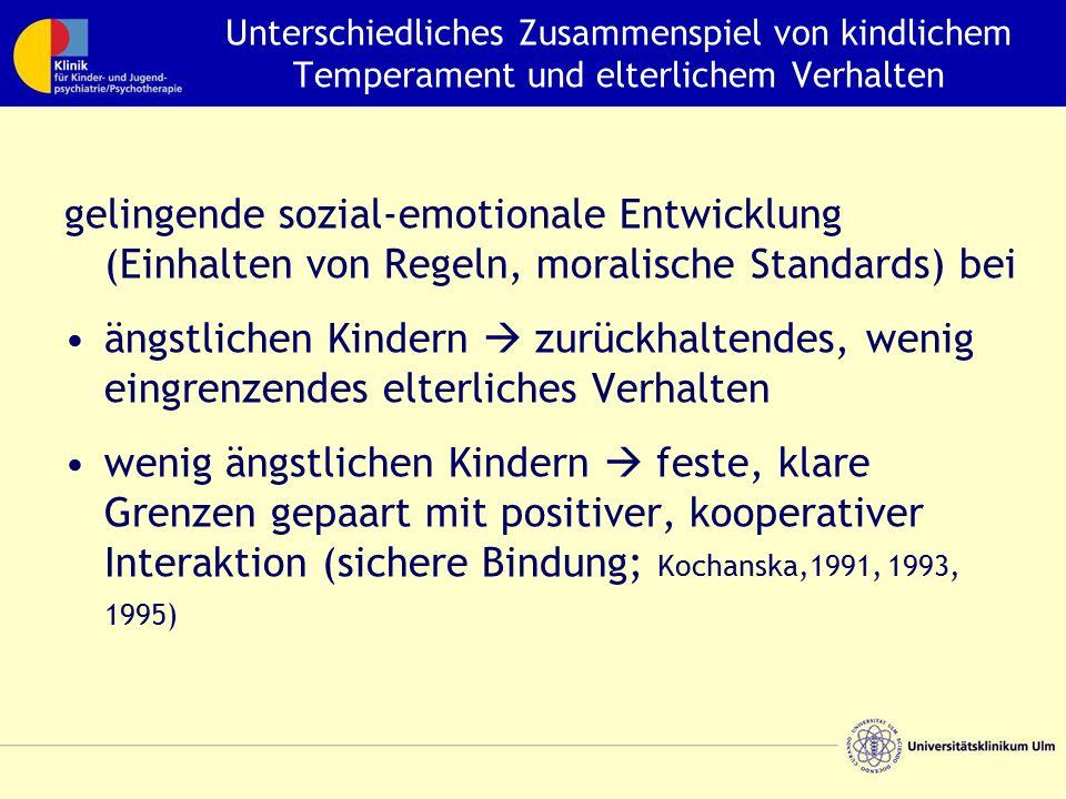 Unterschiedliches Zusammenspiel von kindlichem Temperament und elterlichem Verhalten gelingende sozial-emotionale Entwicklung (Einhalten von Regeln, m