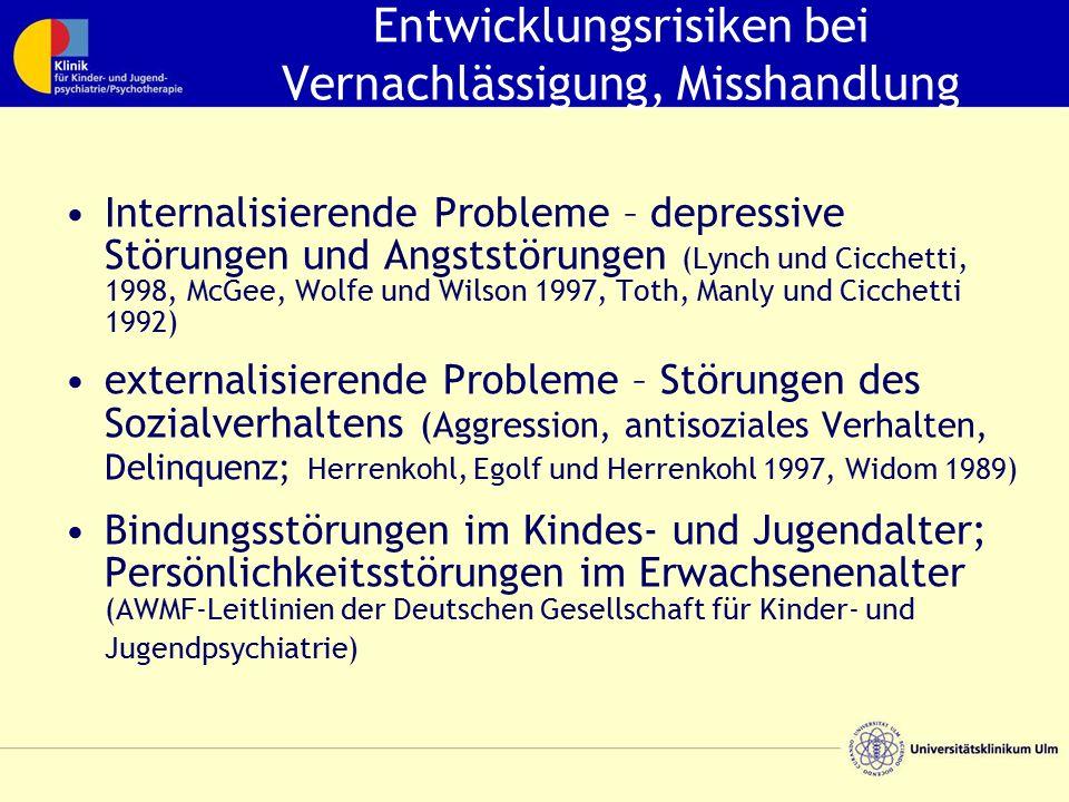 Entwicklungsrisiken bei Vernachlässigung, Misshandlung Internalisierende Probleme – depressive Störungen und Angststörungen (Lynch und Cicchetti, 1998