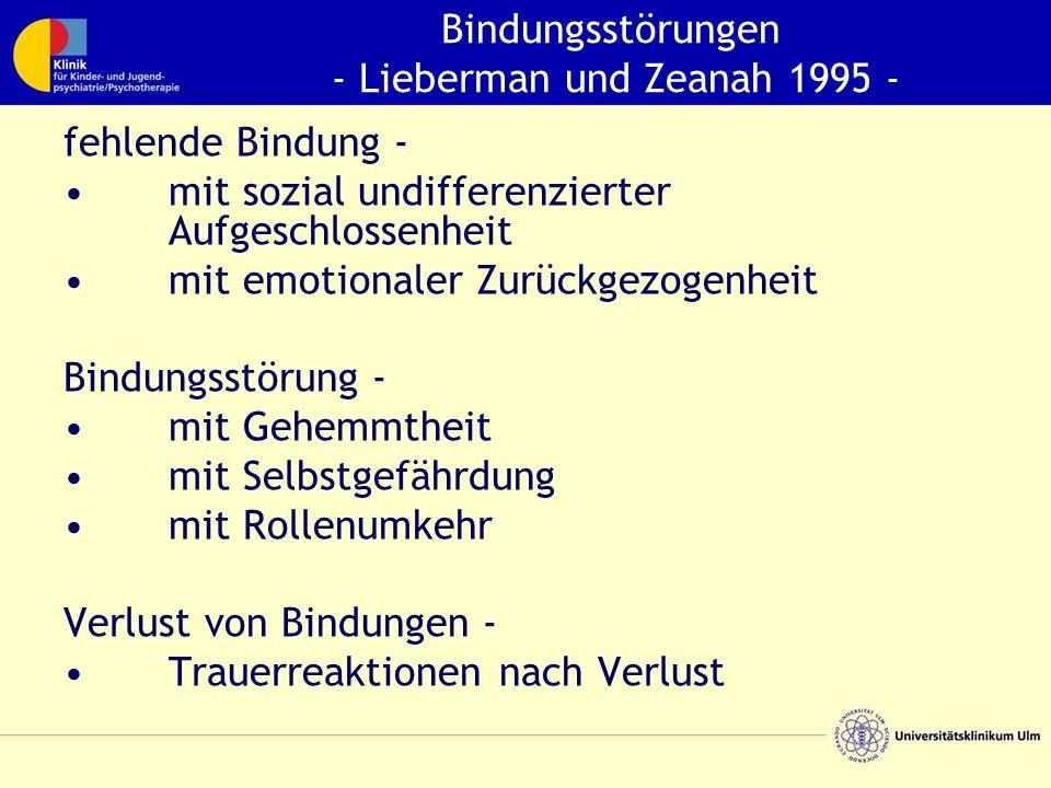 Bindungsstörungen - Lieberman und Zeanah 1995 - fehlende Bindung - mit sozial undifferenzierter Aufgeschlossenheit mit emotionaler Zurückgezogenheit Bindungsstörung - mit Gehemmtheit mit Selbstgefährdung mit Rollenumkehr Verlust von Bindungen - Trauerreaktionen nach Verlust