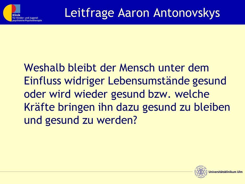 Leitfrage Aaron Antonovskys Weshalb bleibt der Mensch unter dem Einfluss widriger Lebensumstände gesund oder wird wieder gesund bzw.