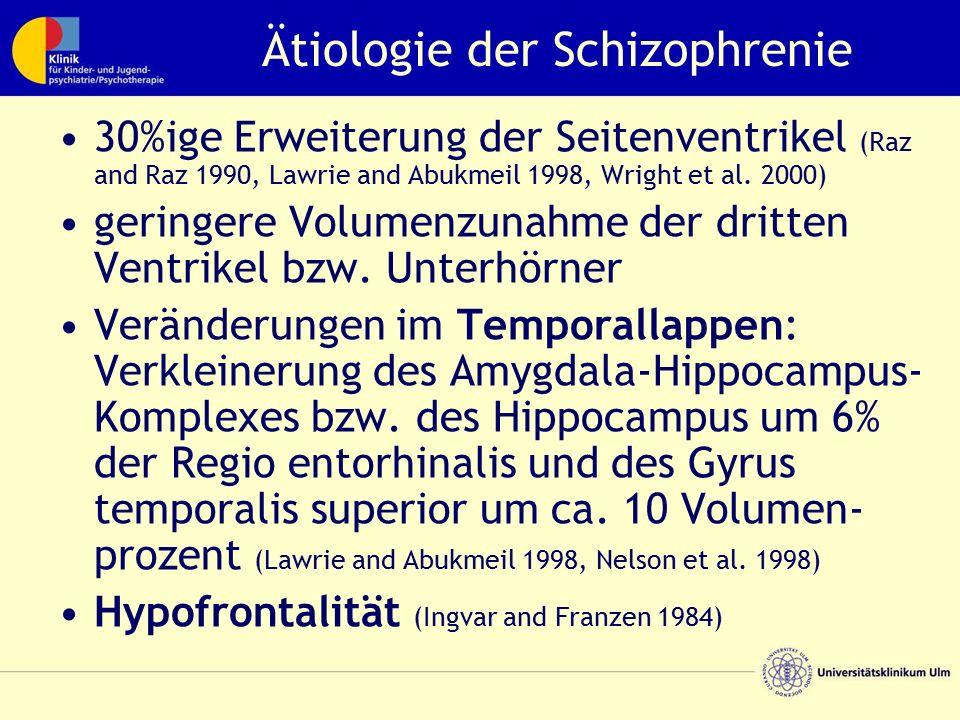 Ätiologie der Schizophrenie 30%ige Erweiterung der Seitenventrikel (Raz and Raz 1990, Lawrie and Abukmeil 1998, Wright et al. 2000) geringere Volumenz