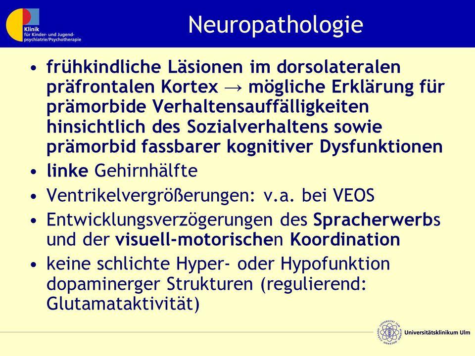 Neuropathologie frühkindliche Läsionen im dorsolateralen präfrontalen Kortex → mögliche Erklärung für prämorbide Verhaltensauffälligkeiten hinsichtlic