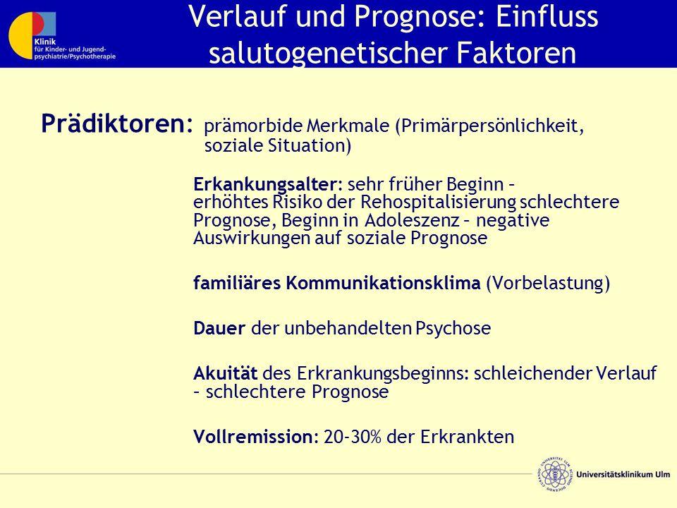 Verlauf und Prognose: Einfluss salutogenetischer Faktoren Prädiktoren: prämorbide Merkmale (Primärpersönlichkeit, soziale Situation) Erkankungsalter: