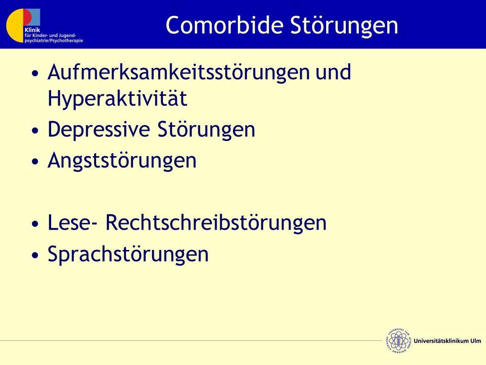 Comorbide Störungen Aufmerksamkeitsstörungen und Hyperaktivität Depressive Störungen Angststörungen Lese- Rechtschreibstörungen Sprachstörungen