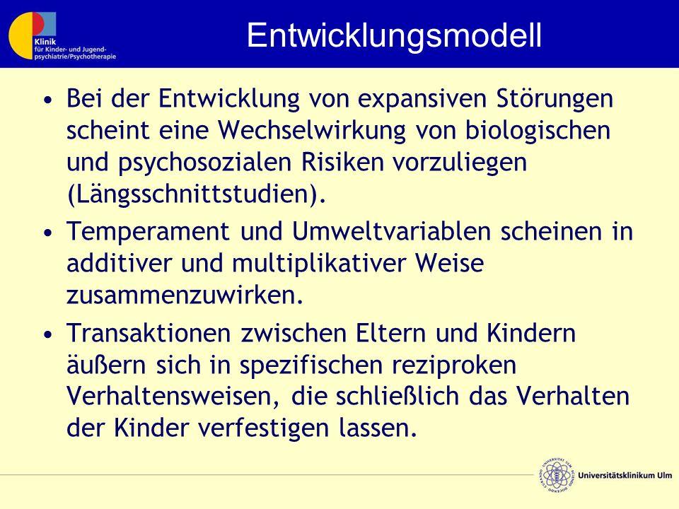 Entwicklungsmodell Bei der Entwicklung von expansiven Störungen scheint eine Wechselwirkung von biologischen und psychosozialen Risiken vorzuliegen (Längsschnittstudien).
