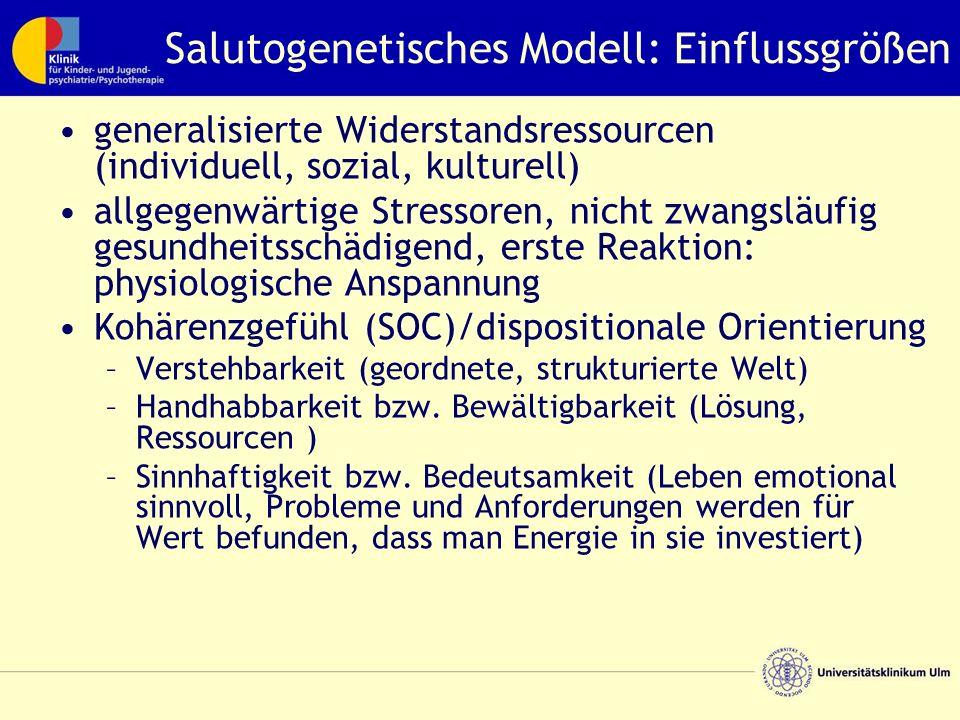 Salutogenetisches Modell: Einflussgrößen generalisierte Widerstandsressourcen (individuell, sozial, kulturell) allgegenwärtige Stressoren, nicht zwang
