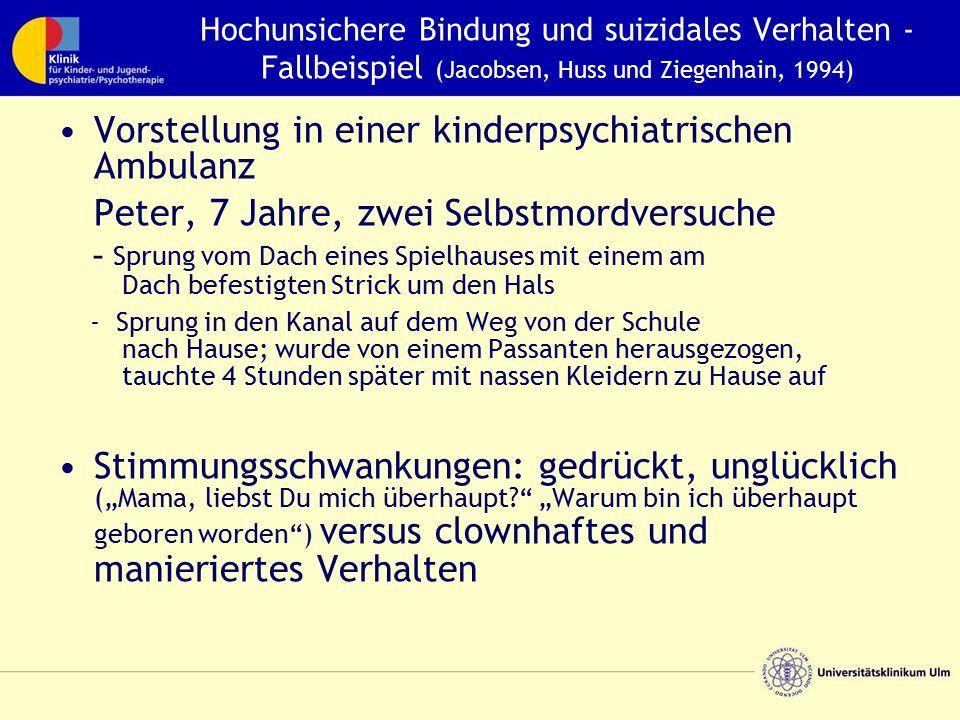 Hochunsichere Bindung und suizidales Verhalten - Fallbeispiel (Jacobsen, Huss und Ziegenhain, 1994) Vorstellung in einer kinderpsychiatrischen Ambulan