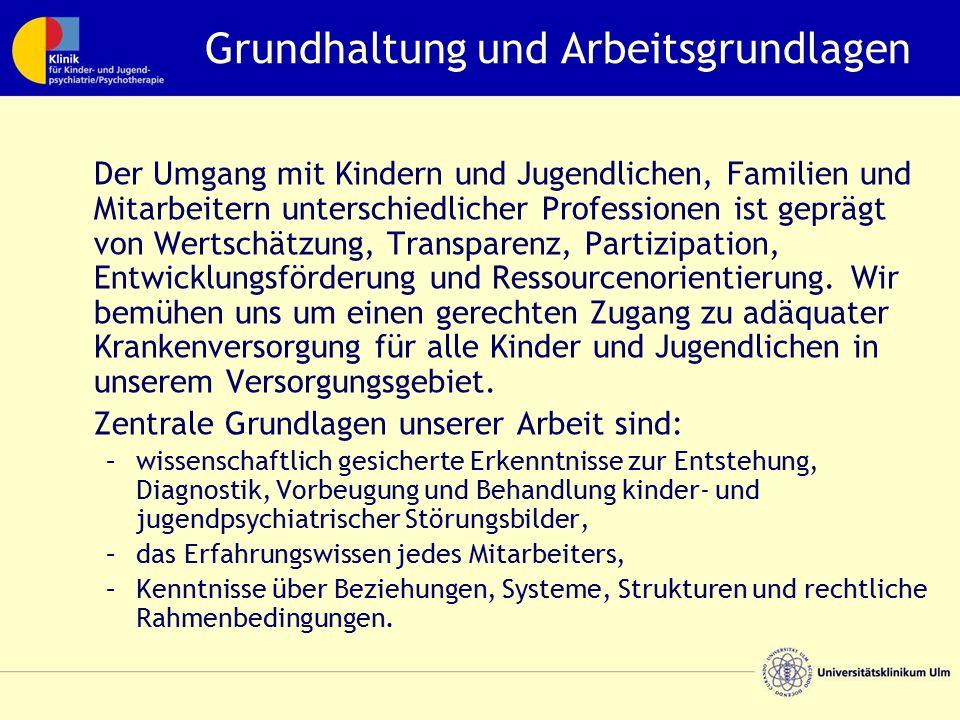 Grundhaltung und Arbeitsgrundlagen Der Umgang mit Kindern und Jugendlichen, Familien und Mitarbeitern unterschiedlicher Professionen ist geprägt von W