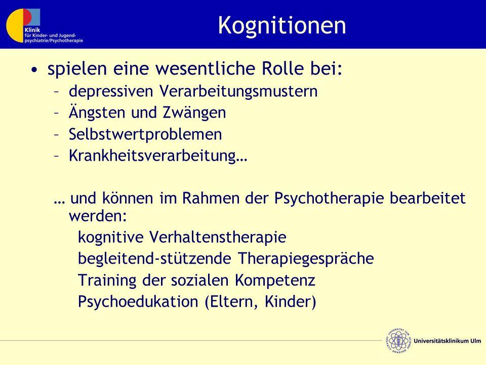 Kognitionen spielen eine wesentliche Rolle bei: –depressiven Verarbeitungsmustern –Ängsten und Zwängen –Selbstwertproblemen –Krankheitsverarbeitung… … und können im Rahmen der Psychotherapie bearbeitet werden: kognitive Verhaltenstherapie begleitend-stützende Therapiegespräche Training der sozialen Kompetenz Psychoedukation (Eltern, Kinder)