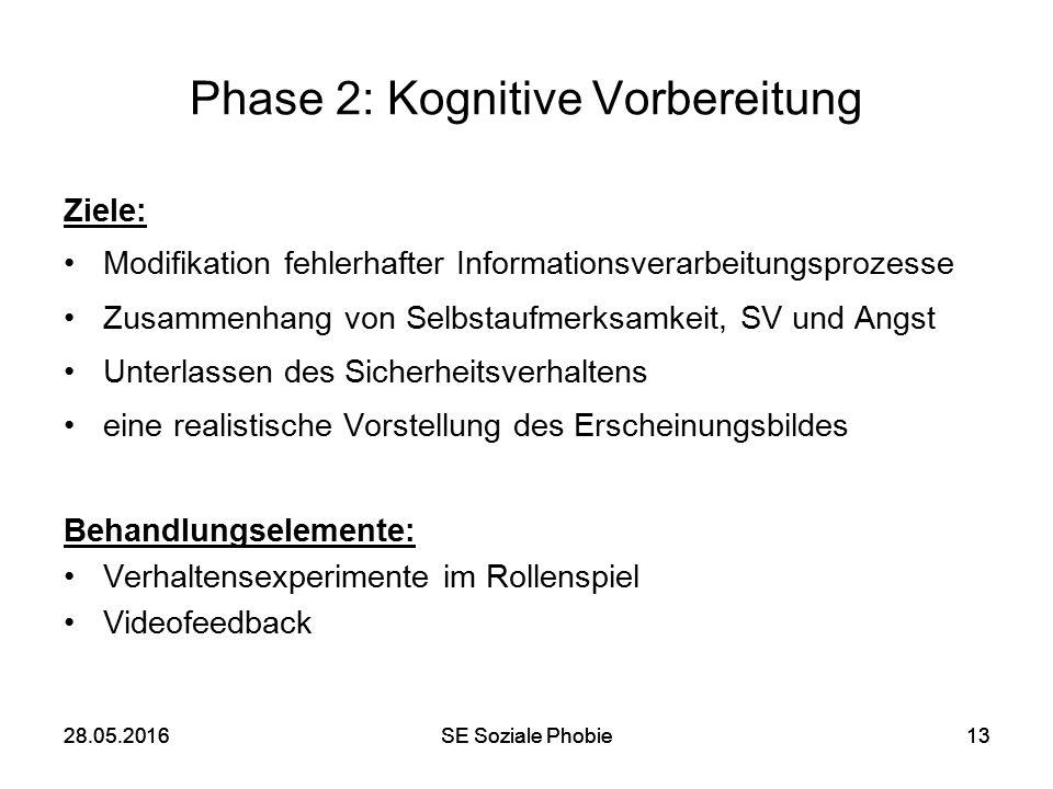 28.05.2016SE Soziale Phobie1328.05.2016SE Soziale Phobie13 Phase 2: Kognitive Vorbereitung Ziele: Modifikation fehlerhafter Informationsverarbeitungsp