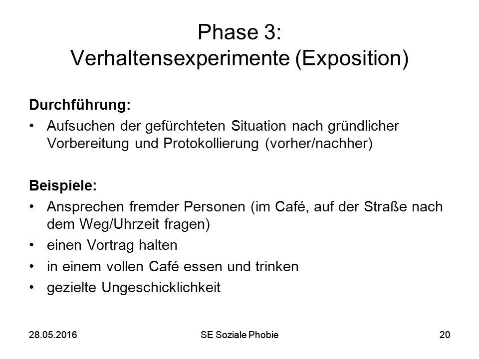 28.05.2016SE Soziale Phobie2028.05.2016SE Soziale Phobie20 Phase 3: Verhaltensexperimente (Exposition) Durchführung: Aufsuchen der gefürchteten Situat
