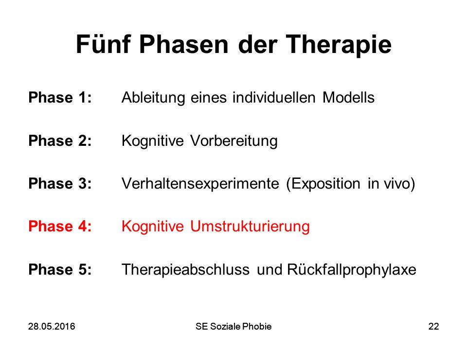 28.05.2016SE Soziale Phobie2228.05.2016SE Soziale Phobie22 Fünf Phasen der Therapie Phase 1: Ableitung eines individuellen Modells Phase 2: Kognitive