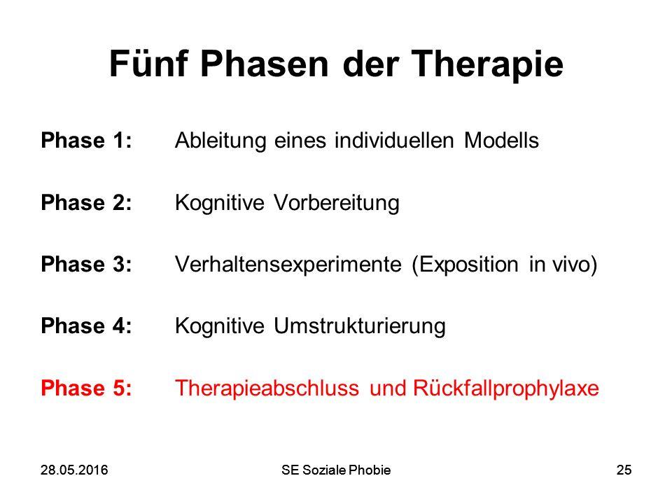 28.05.2016SE Soziale Phobie2528.05.2016SE Soziale Phobie25 Fünf Phasen der Therapie Phase 1: Ableitung eines individuellen Modells Phase 2: Kognitive