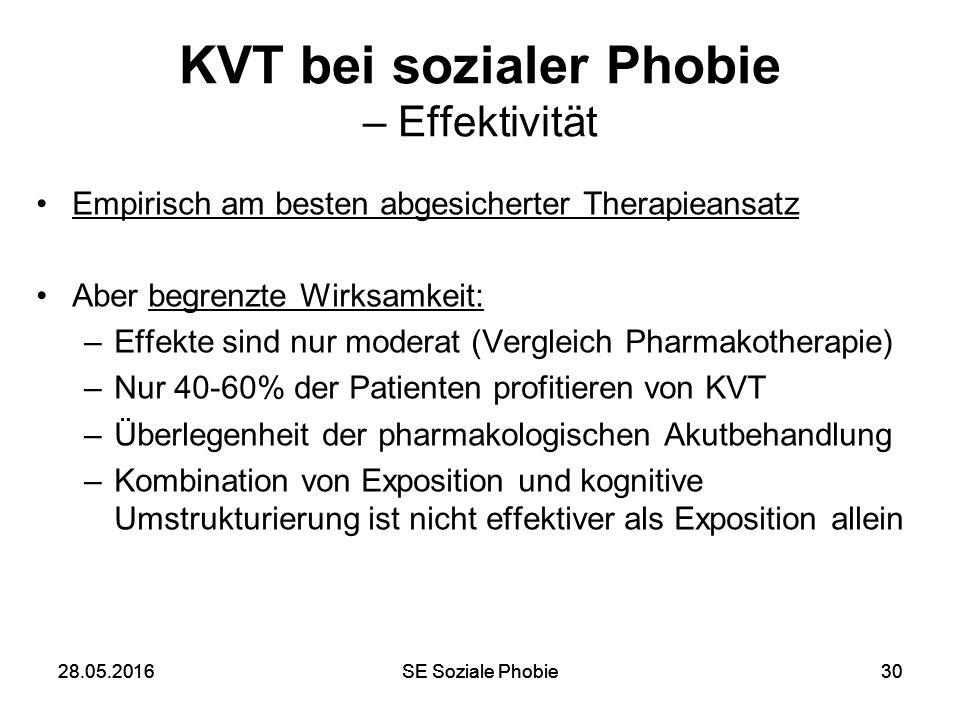 28.05.2016SE Soziale Phobie3028.05.2016SE Soziale Phobie30 KVT bei sozialer Phobie – Effektivität Empirisch am besten abgesicherter Therapieansatz Abe