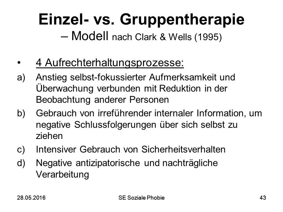 28.05.2016SE Soziale Phobie4328.05.2016SE Soziale Phobie43 Einzel- vs. Gruppentherapie – Modell nach Clark & Wells (1995) 4 Aufrechterhaltungsprozesse