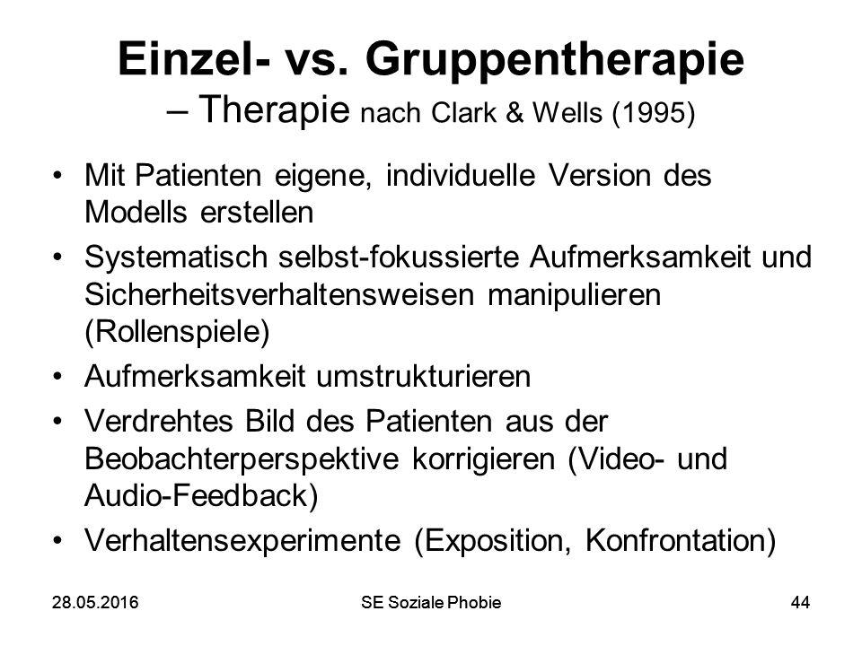 28.05.2016SE Soziale Phobie4428.05.2016SE Soziale Phobie44 Einzel- vs. Gruppentherapie – Therapie nach Clark & Wells (1995) Mit Patienten eigene, indi