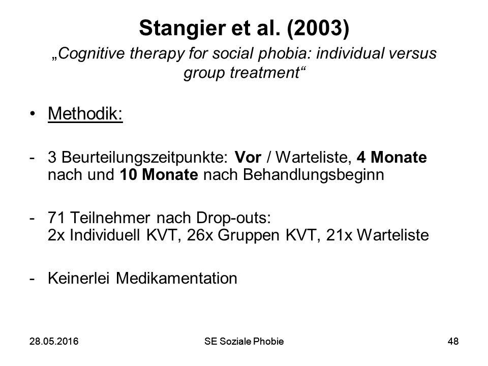 """28.05.2016SE Soziale Phobie4828.05.2016SE Soziale Phobie48 Stangier et al. (2003) """"Cognitive therapy for social phobia: individual versus group treatm"""