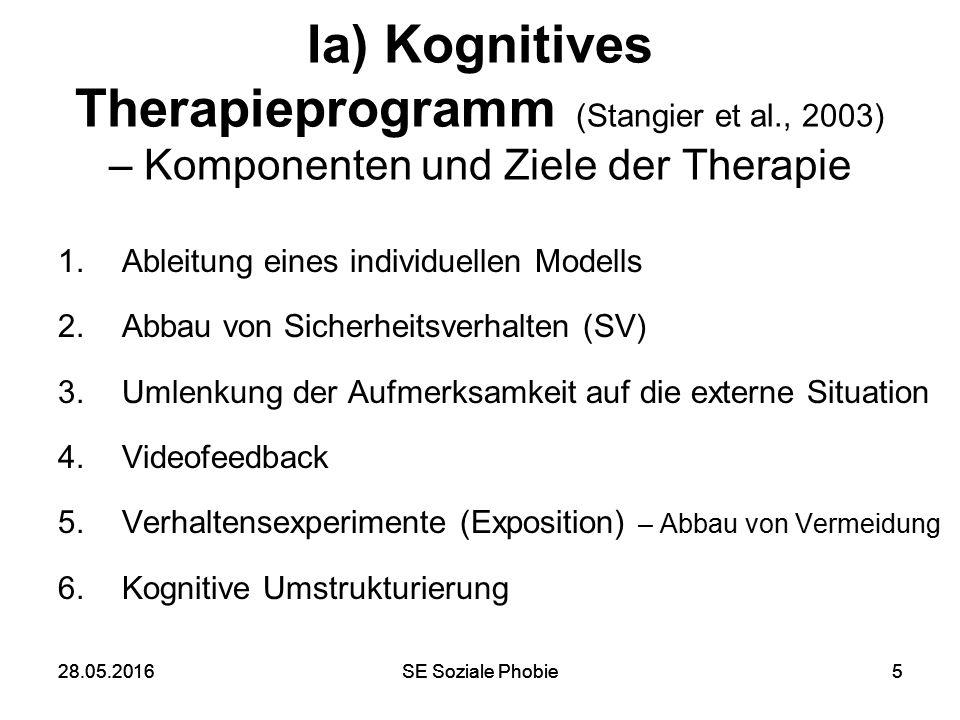 28.05.2016SE Soziale Phobie528.05.2016SE Soziale Phobie5 Ia) Kognitives Therapieprogramm (Stangier et al., 2003) – Komponenten und Ziele der Therapie