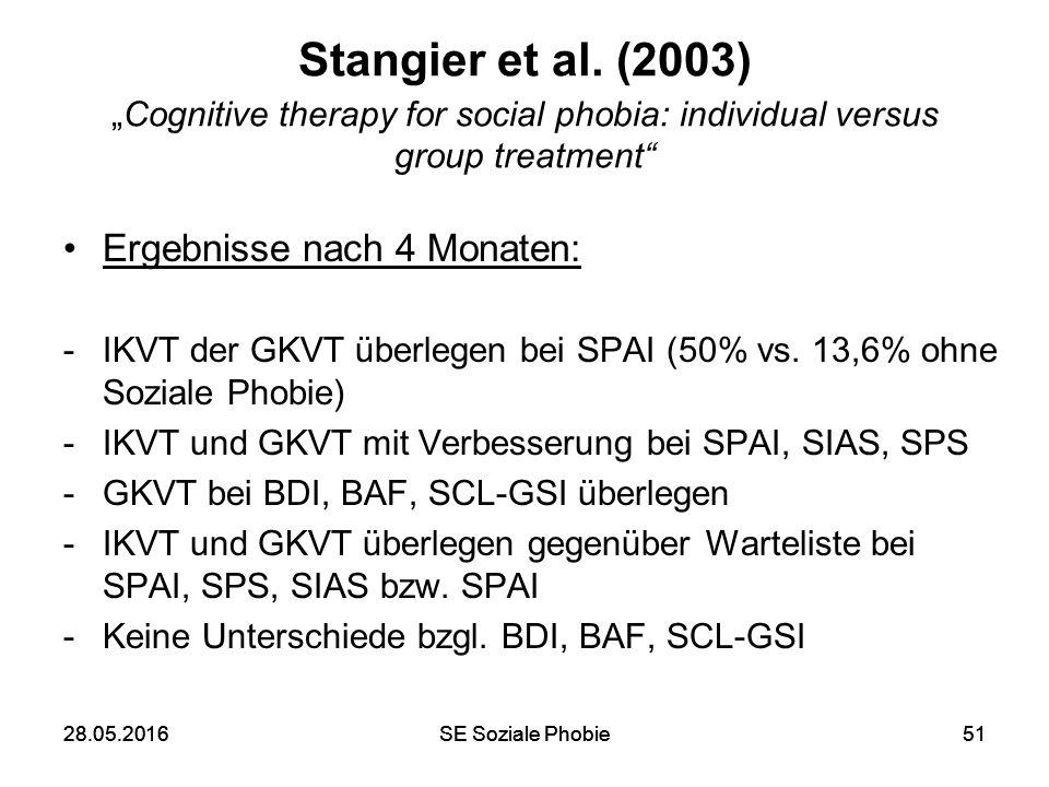 """28.05.2016SE Soziale Phobie5128.05.2016SE Soziale Phobie51 Stangier et al. (2003) """"Cognitive therapy for social phobia: individual versus group treatm"""