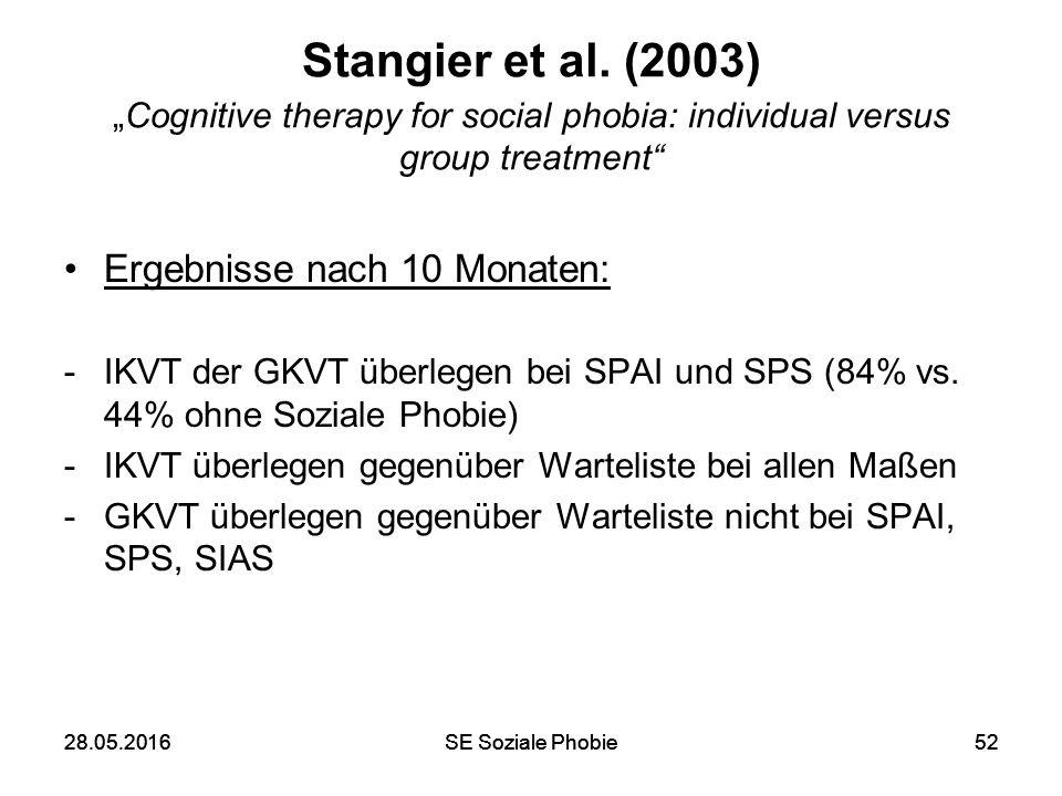 """28.05.2016SE Soziale Phobie5228.05.2016SE Soziale Phobie52 Stangier et al. (2003) """"Cognitive therapy for social phobia: individual versus group treatm"""