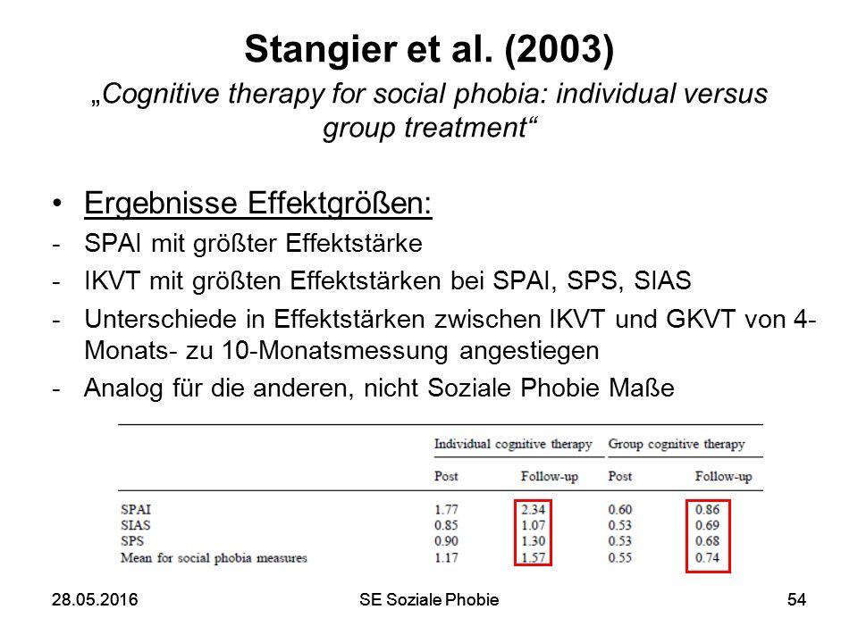 """28.05.2016SE Soziale Phobie5428.05.2016SE Soziale Phobie54 Stangier et al. (2003) """"Cognitive therapy for social phobia: individual versus group treatm"""