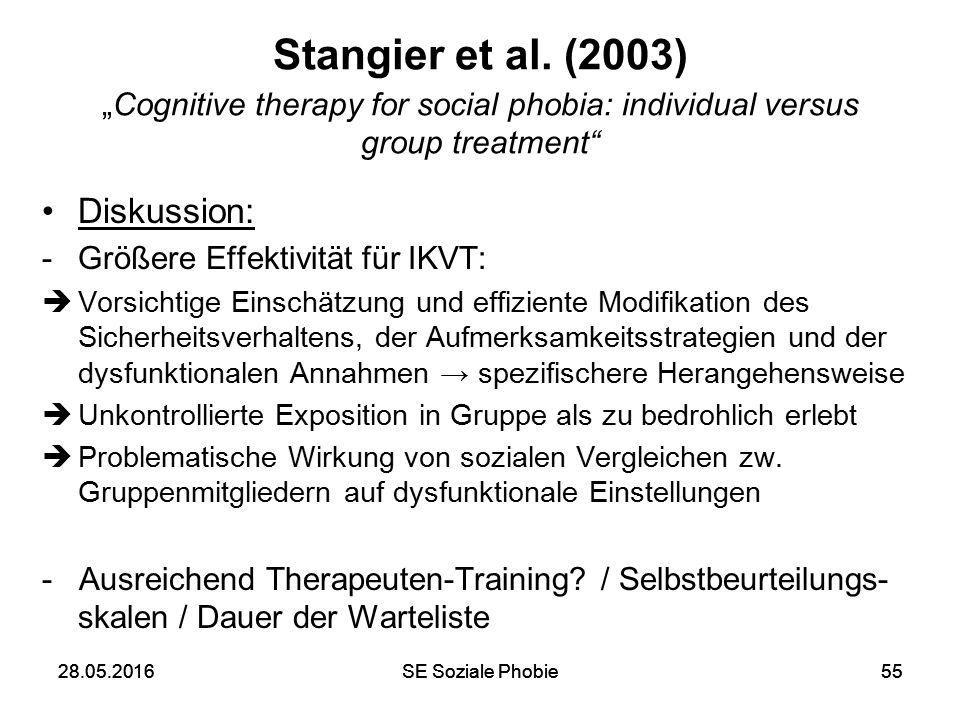 """28.05.2016SE Soziale Phobie5528.05.2016SE Soziale Phobie55 Stangier et al. (2003) """"Cognitive therapy for social phobia: individual versus group treatm"""