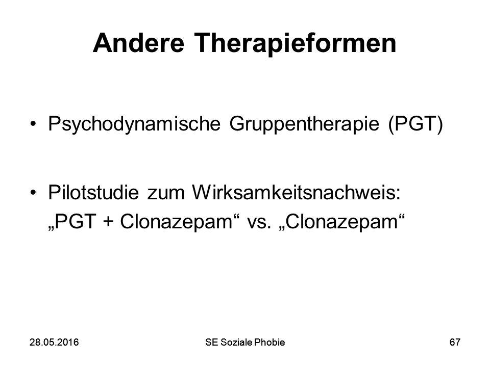 28.05.2016SE Soziale Phobie6728.05.2016SE Soziale Phobie67 Andere Therapieformen Psychodynamische Gruppentherapie (PGT) Pilotstudie zum Wirksamkeitsna