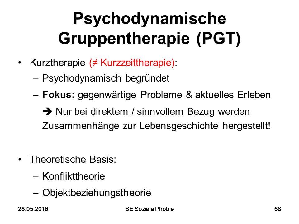 28.05.2016SE Soziale Phobie6828.05.2016SE Soziale Phobie68 Psychodynamische Gruppentherapie (PGT) Kurztherapie (≠ Kurzzeittherapie): –Psychodynamisch